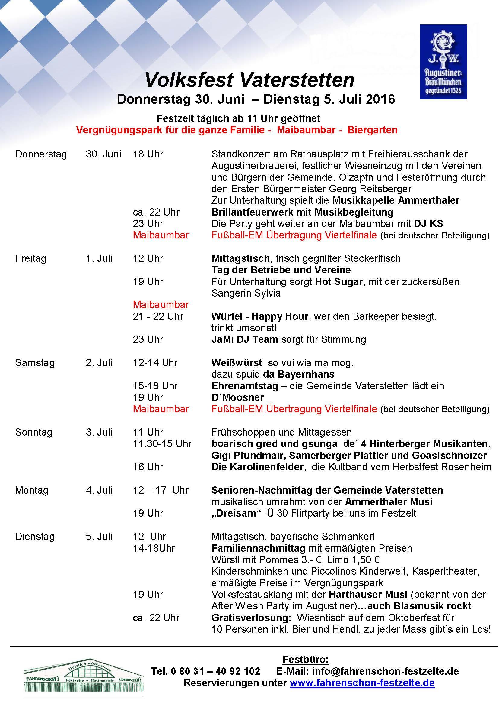 Programm Volksfest